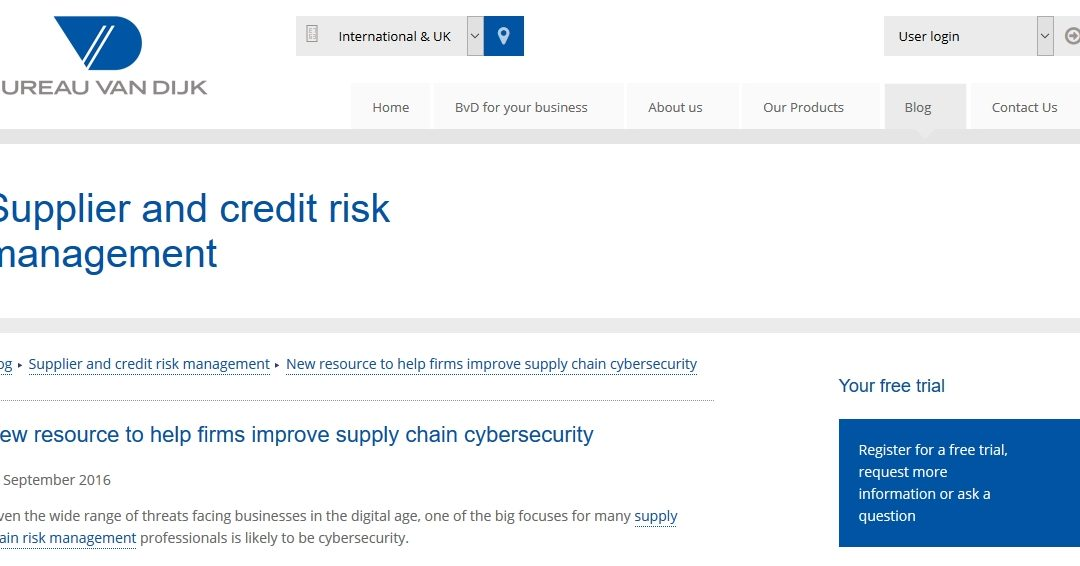 BVDinfo.com 2016-09 : New resource to help firms improve supply chain cybersecurity