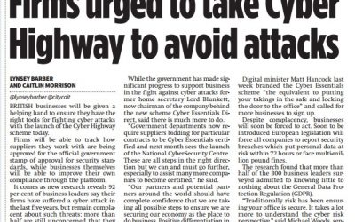 City AM – 2016-09 : Firms urged to take Cyber Highway to avoid attacks