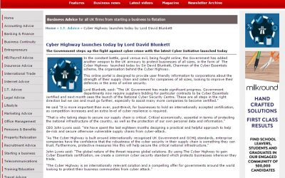 New Business – 2016-09 : Cyber Highway launches today by Lord David Blunkett