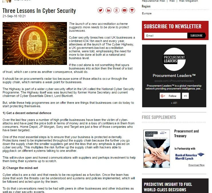 Procurement Leaders – 2016-09 : Three Lessons in Cyber Security
