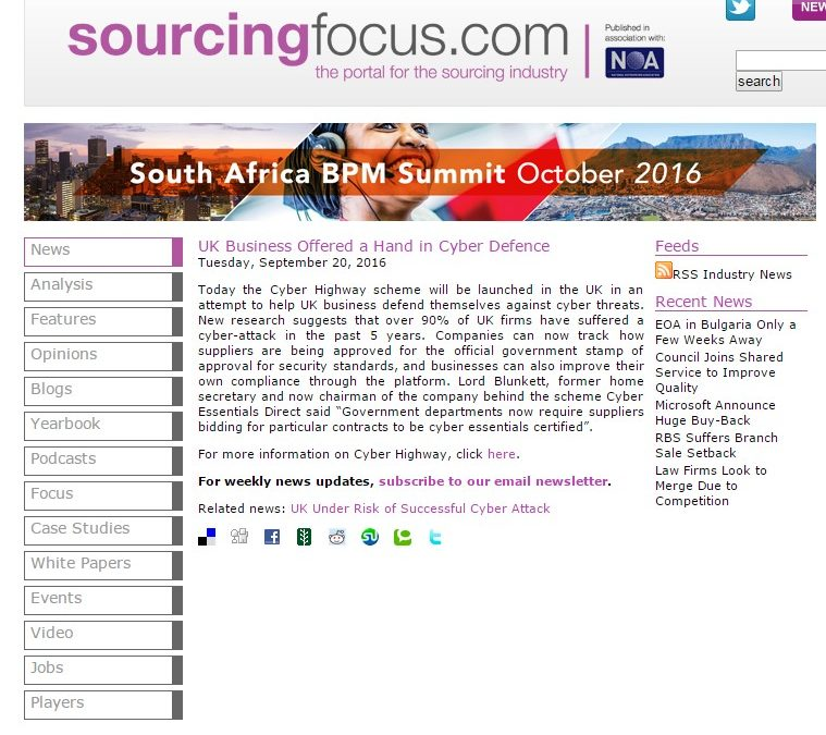 Sourcing Focus – 2016-09 : UK Business Offered a Hand in Cyber Defence