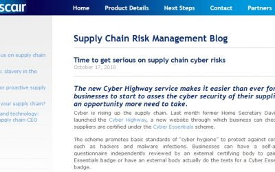 Supplychain-risk.com 2016-10 : Time to get serious on supply chain cyber risks