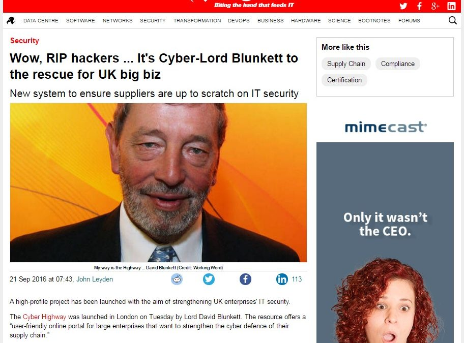 The Register – 2016-09 : Wow, RIP hackers … it's Cyber-Lord Blunkett to the rescue for UK big biz